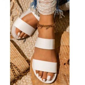 Double Strap Croc & Faux Suede Sandals in White